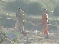 Desi granny changing after bath on river